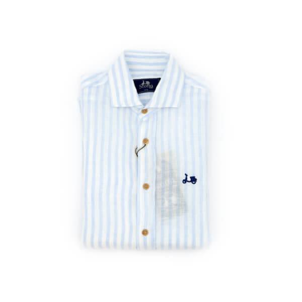 Camisa Scotta 1985 Raya Lino Celeste