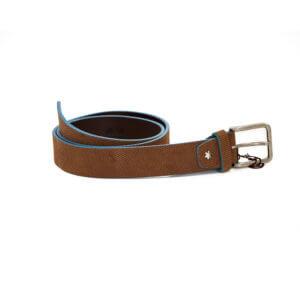 Cinturón Cencibel Piel Marrón Filo Azul