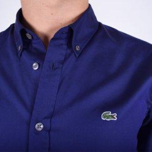 Camisa Lacoste lisa marino 2