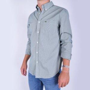 Camisa Lacoste cuadro vichí verde 2