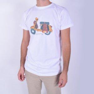 Camiseta Scotta 1985 moto café racer blanco 1