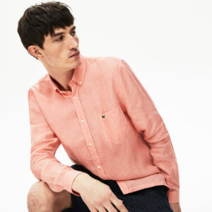 Camisa Lacoste lino coral 2