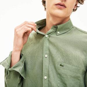 Camisa Lacoste lino verde 2