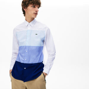 Camisa Lacoste raya triple azul 1