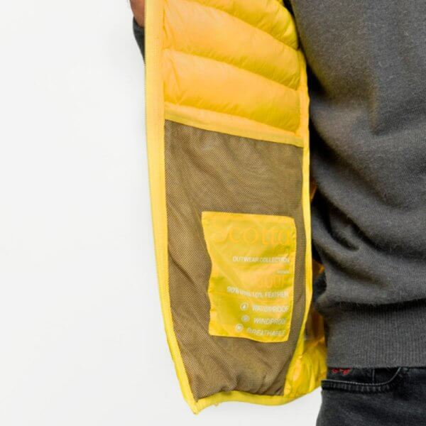 Chaleco plumas Scotta 1985 amarillo 3