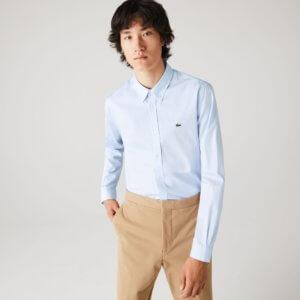 Camisa Lacoste Oxford celeste 1