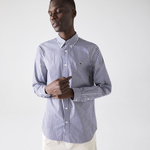 Camisa Lacoste Rayas marino 1