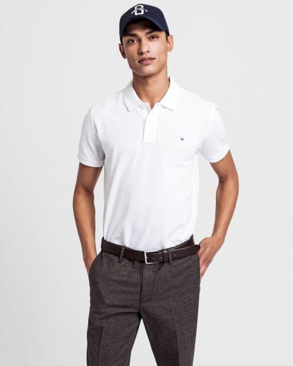 Polo Gant básico blanco 1