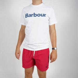 Camiseta Barbour logo heritage blanca 1