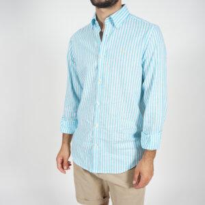 Camisa GO rayas turquesa 1