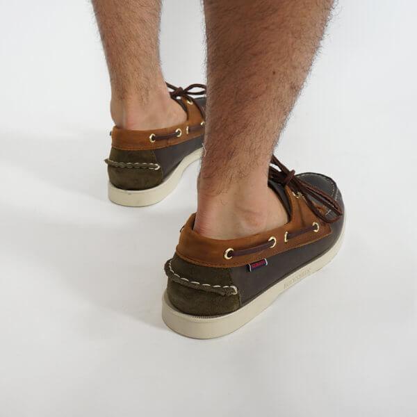 Zapatos Sebago Portland marino marrón verde 3