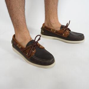 Zapatos Sebago Portland marino marrón verde 1